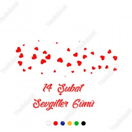 14 Şubat Sevgililer Günü Büyükten Küçüğe Kalpler Sticker