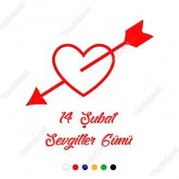 Sevgililer Günü İçinden Dolu Ok Geçmiş İçi Dolu Kalp Sticker