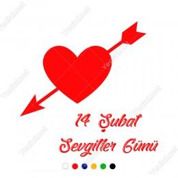 Sevgililer Günü İçinden Ok Geçmiş İçi Dolu Kalp Sticker