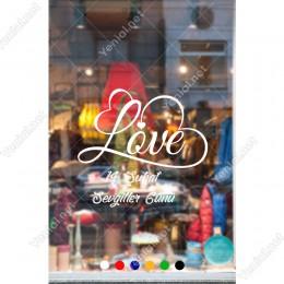Sevgililer Günü Kalp Şekli Oluşturulmuş Love Yazısı Sticker