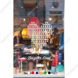 Sevgililer Günü XOX Oyunu Şeklinde Kalp Sticker