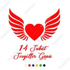 Sevgililer Günü Yazısı ve Kanatlı Kalp Sticker