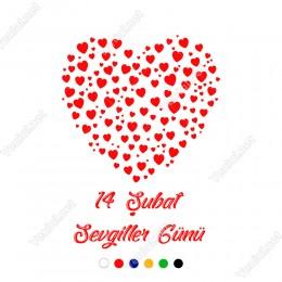 Sevgililer Gününe Özel Küçüklü Büyüklü Kalpler Sticker