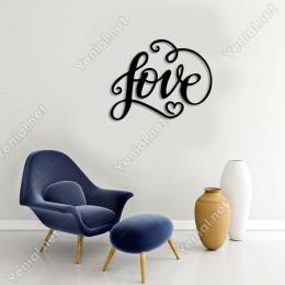 14 Şubat Sevgililer Love Yazısı Duvar Oda Ev Aksesuarı Ahşap Tablo 50x39cm