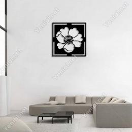 Açılmış Çiçek Geniş Yaprakları Duvar Oda Ev Aksesuarı Ahşap Tablo 50x50cm