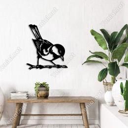 Ağac Dalı Üzerinde Duran Sevimli Kuş Duvar Aksesuarı Ahşap Tablo 50x46cm