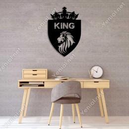 Aslan King Kral Tacı Duvar Oda Ev Aksesuarı Ahşap Tablo 33x50cm