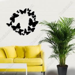 Beraber İlerleyen Kelebekler Duvar Ev Aksesuarı Ahşap Tablo 50x42cm