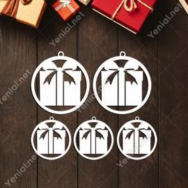 Büyük Çerçeve İçinde Noel Baba ve Hediye Paketi Yılbaşı Süslemeleri Mdf Kesim