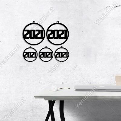Çerçeve İçinde Asma Detaylı 2021 Yazısı Yılbaşı Yılbaşı Süslemeleri Mdf Kesim