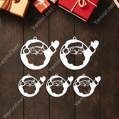 Çerçeve İçinde El Sallayan Noel Baba Yılbaşı Süslemeleri Mdf Kesim