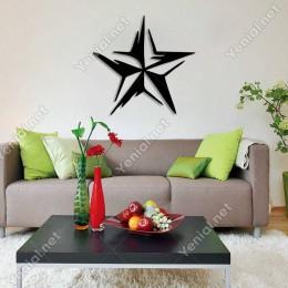 Dalgalı Efektli Yıldız Duvar Oda Ev Aksesuarı Ahşap Tablo 50x49cm