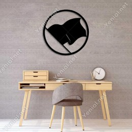 Dalgalı Korsan Bayrağı Duvar Oda Ev Aksesuarı Ahşap Tablo 50x50cm
