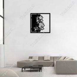 Denge Şeklinde Çiçek Deseni Duvar Oda Aksesuarı Ahşap Tablo 50x50cm