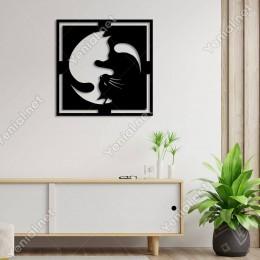 Denge Siyah Kedi ve Beyaz Kedi Duvar Oda Ev Aksesuarı Ahşap Tablo 50x50cm