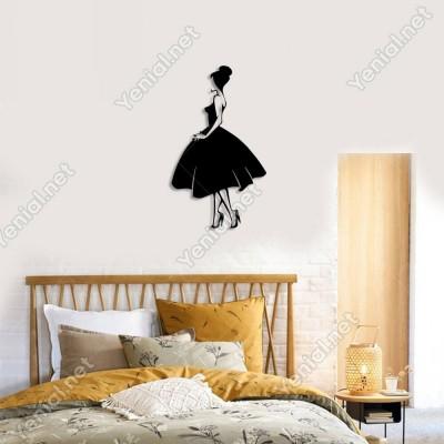 Elbiseli Güzel Kadın Duvar Oda Ev Aksesuarı Ahşap Tablo 29x50cm