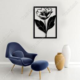 Geniş Yapraklı Büyük Çiçek Duvar Oda Ev Aksesuarı Ahşap Tablo 36x50cm