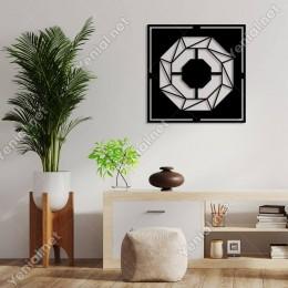 Geometrik Parçalardan Oluşan Lens Deseni Duvar Aksesuarı Ahşap Tablo 50x50cm