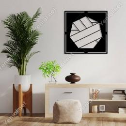 Geometrik Parçalardan Oluşan Soyut Form Duvar Aksesuarı Ahşap Tablo 50x50cm
