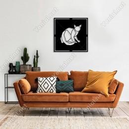 Geometrik Parçalardan Oluşmuş Kedi Duvar Oda Ev Aksesuarı Ahşap Tablo 50x50cm