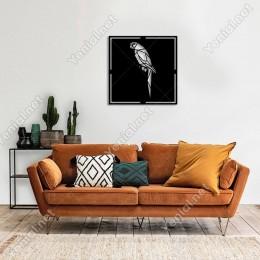Geometrik Parçalardan Oluşmuş Papağan Duvar Oda Aksesuarı Ahşap Tablo 50x50cm