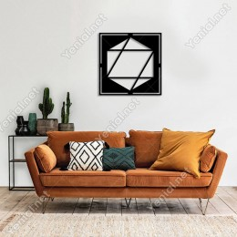 Geometrik Parçalı Altıgen Geometrik Form Duvar Aksesuarı Ahşap Tablo 50x50cm
