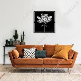 Geometrik Parçalı Bahçe Gülleri Duvar Oda Ev Aksesuarı Ahşap Tablo 50x50cm