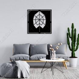 Geometrik Parçalı Desenli Ağaç Duvar Oda Ev Aksesuarı Ahşap Tablo 50x50cm