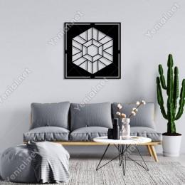 Geometrik Parçalı Geometrik Altıgen Form Duvar Aksesuarı Ahşap Tablo 50x50cm