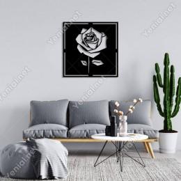 Geometrik Parçalı Gül Rose Duvar Oda Ev Aksesuarı Ahşap Tablo 50x50cm