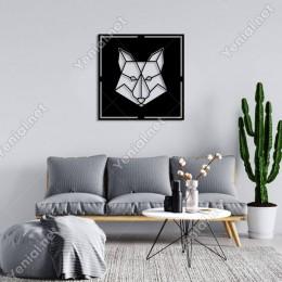 Geometrik Parçalı Tilki Kafası Duvar Oda Ev Aksesuarı Ahşap Tablo 50x50cm