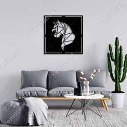 Geometrik Parçalı Unicorn Kafası Duvar Oda Ev Aksesuarı Ahşap Tablo 50x50cm