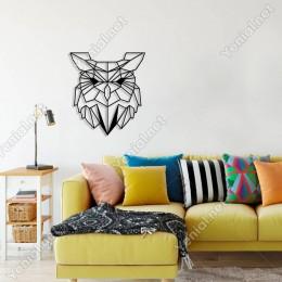Geometrik Vahşi Doğa Baykuş Kafası Duvar Oda Ev Aksesuarı Ahşap Tablo 45x50cm