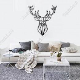 Geometrik Vahşi Doğa Geyik Kafası Duvar Oda Ev Aksesuarı Ahşap Tablo 46x50cm