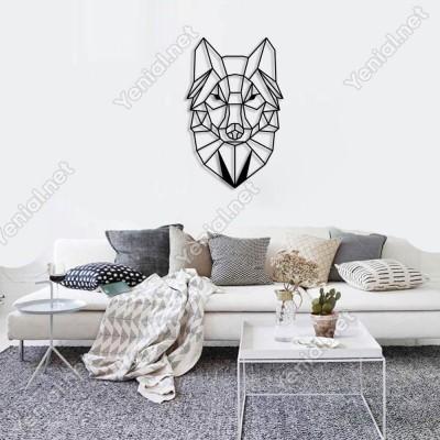 Geometrik Vahşi Kurt Kafası Duvar Oda Ev Aksesuarı Ahşap Tablo 32x50cm