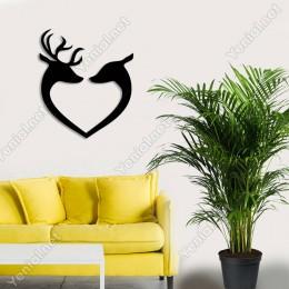 Kalp Aşık Geyikler Duvar Oda Ev Aksesuarı Ahşap Tablo 43x50cm