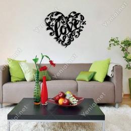 Kalp İçinde Yaprak ve Dallar Duvar Oda Ev Aksesuarı Ahşap Tablo 50x44cm