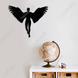 Kanatları Açık Melek Kız Duvar Oda Ev Aksesuarı Ahşap Tablo 50x39cm