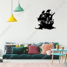 Kuru Kafa - Korsan Gemisi Duvar Oda Ev Aksesuarı Ahşap Tablo 50x48cm