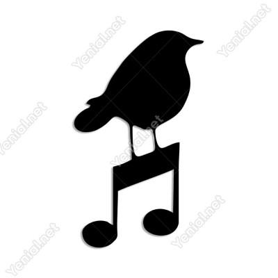 Müzik İşareti ve Kuş Duvar Oda Ev Aksesuarı Ahşap Tablo 29x50cm
