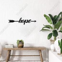 Ok ve Yay Arasına Yazılmış Hope Yazısı Duvar Aksesuarı Ahşap Tablo 50x10cm