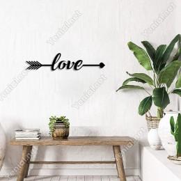 Ok ve Yay Arasına Yazılmış Love Yazısı Duvar Aksesuarı Ahşap Tablo 50x10cm