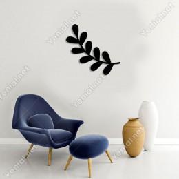 Oval Yaprak Dal Parçası Desen Duvar Oda Ev Aksesuarı Ahşap Tablo 50x46cm