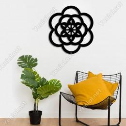 Papatya Şeklinde Zarif Lotus Su Çiçeği Duvar Aksesuarı Ahşap Tablo 50x46cm