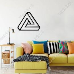 Penrose Üçgeni Duvar Tablosu Dekoratif Ev Aksesuarı Ahşap Tablo 50x40cm