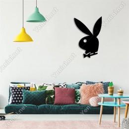 Playboy Logosu Simgesi Duvar Oda Ev Aksesuarı Ahşap Tablo 33x50cm