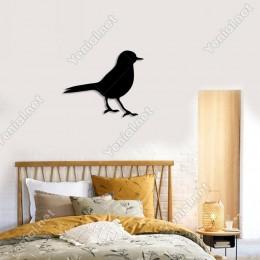 Sağa Doğru Bakan Bekleyen Sevimli Kuş Duvar Oda Aksesuarı Ahşap Tablo 50x41cm