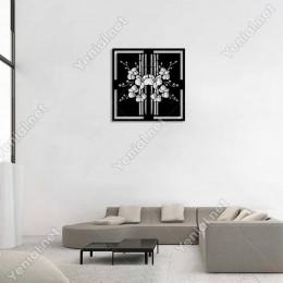 Sağlı Sollu Düzenlenmiş Çiçekler Duvar Oda Aksesuarı Ahşap Tablo 50x50cm