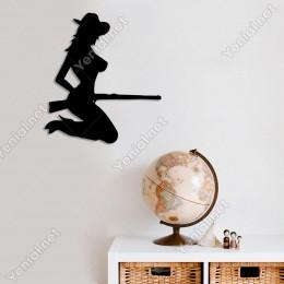 Silahı Olan Avcı Kadın Sliueti Duvar Oda Ev Aksesuarı Ahşap Tablo 44x50cm