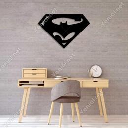 Süpermen ve Batman Yazısı Duvar Oda Ev Aksesuarı Ahşap Tablo 50x33cm
